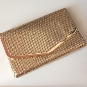 ✨ ALDO Rose Gold Shimmer Clutch Purse with Strap